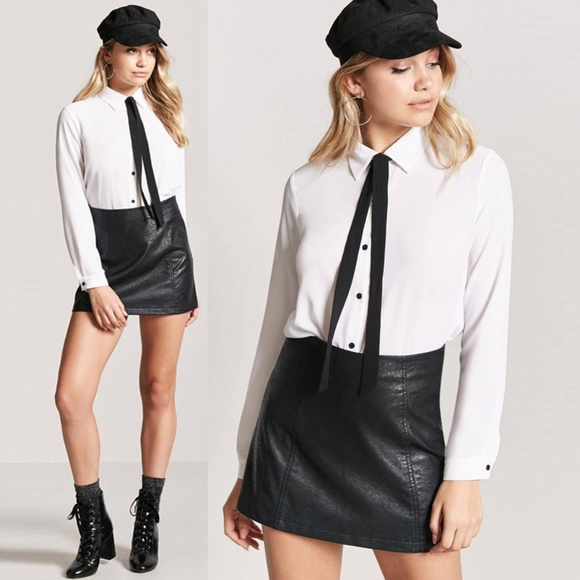 c641b83215d Forever 21 Tops | Off White Bow Tie Button Shirt Chiffon Blouse Top ...
